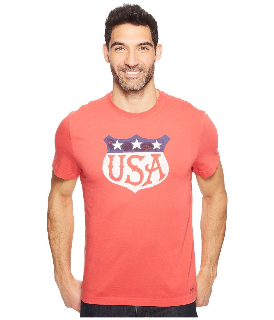 Life is Good USA Shield Crusher Tee (Americana Red) Men