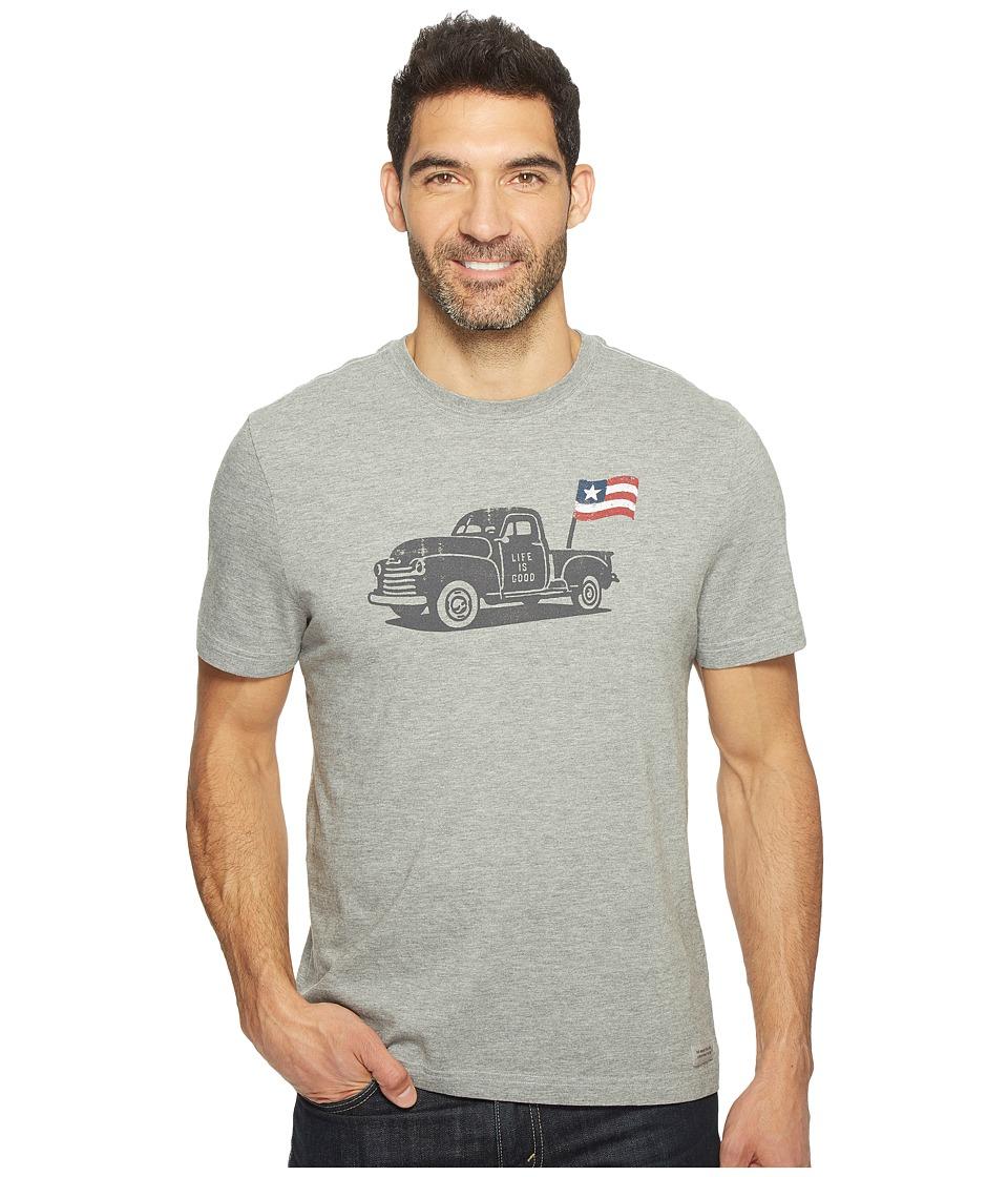 Life is Good Truck Flag Crusher Tee (Heather Gray) Men