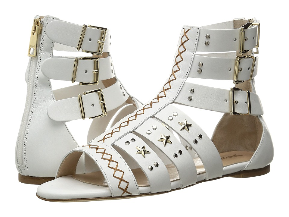Just Cavalli Leather Star and Stud Sandal (White) Women
