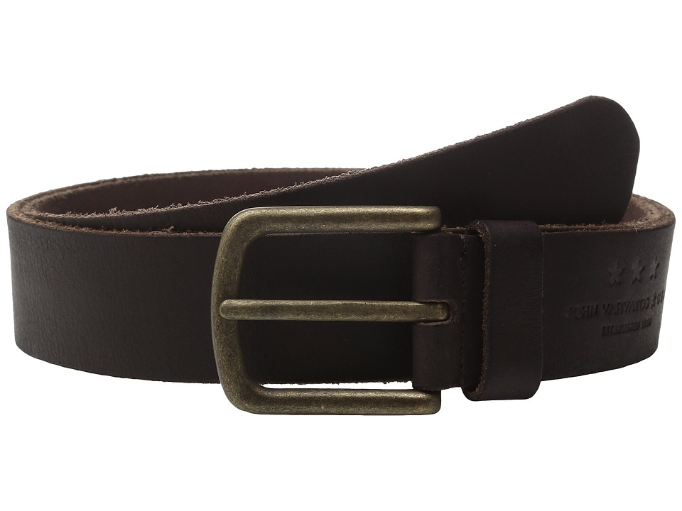 John Varvatos - 40mm Fullweight Leather Harness Belt (Chocolate) Men