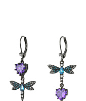Betsey Johnson - Purple/Blue Dragonfly CZ Earrings