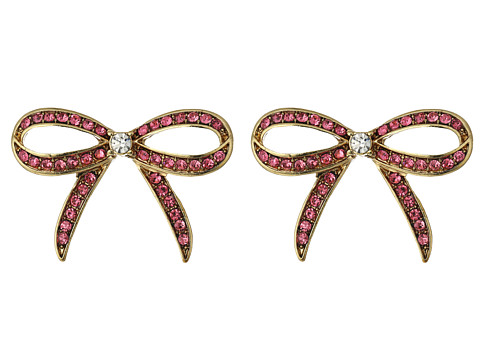 Betsey Johnson Pink/Gold Bow Button Earrings - Pink