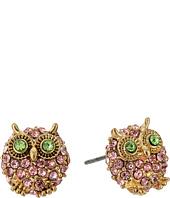 Betsey Johnson - Pink Green Gold Owl Stud Earrings