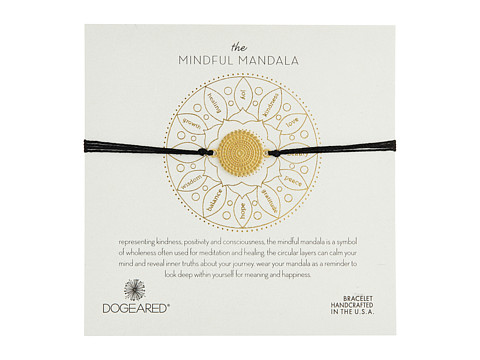 Dogeared Mindful Mandala Center Square Silk Bracelet - Gold Dipped/Black