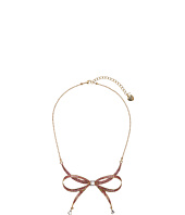 Betsey Johnson - Pink/Gold Bow Frontal Necklace