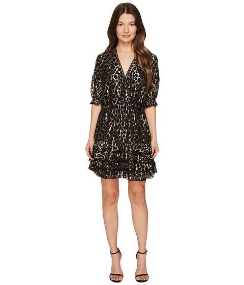 Just Cavalli Metallic Printed Short Ruffle Dress