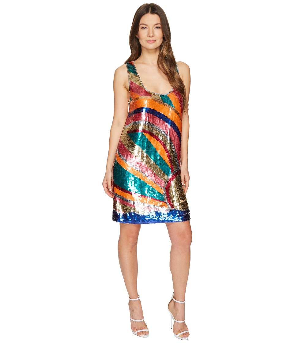 Just Cavalli Shimmer Sleeveless Short Swing Dress (Multicolor) Women