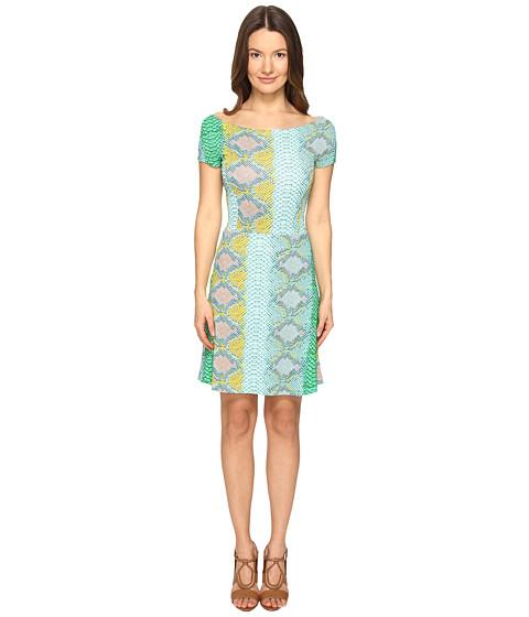 Just Cavalli Iridescent Python Print Shirt Sleeve Dress