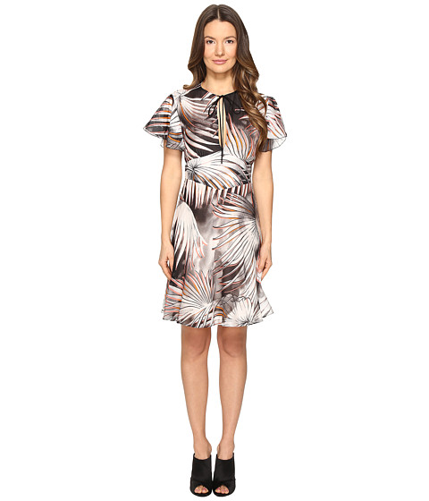Just Cavalli Tie-Dye Palm Print Flutter Sleeve Dress
