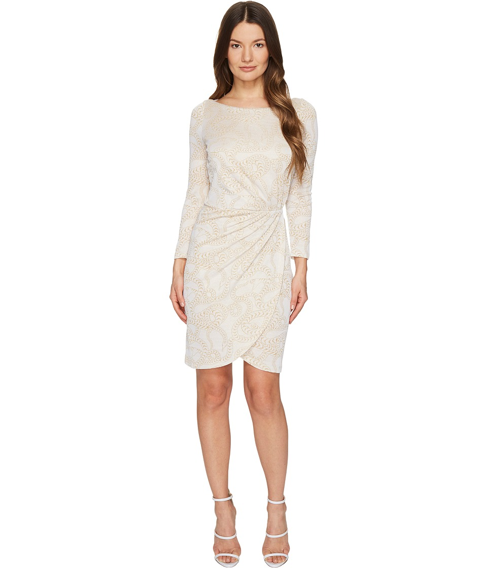 Just Cavalli Jersey Long Sleeve Snake Jacquard Print Dress (White) Women