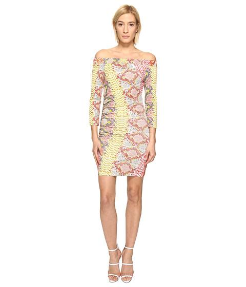 Just Cavalli Iridescent Python Print Off the Shoulder Dress