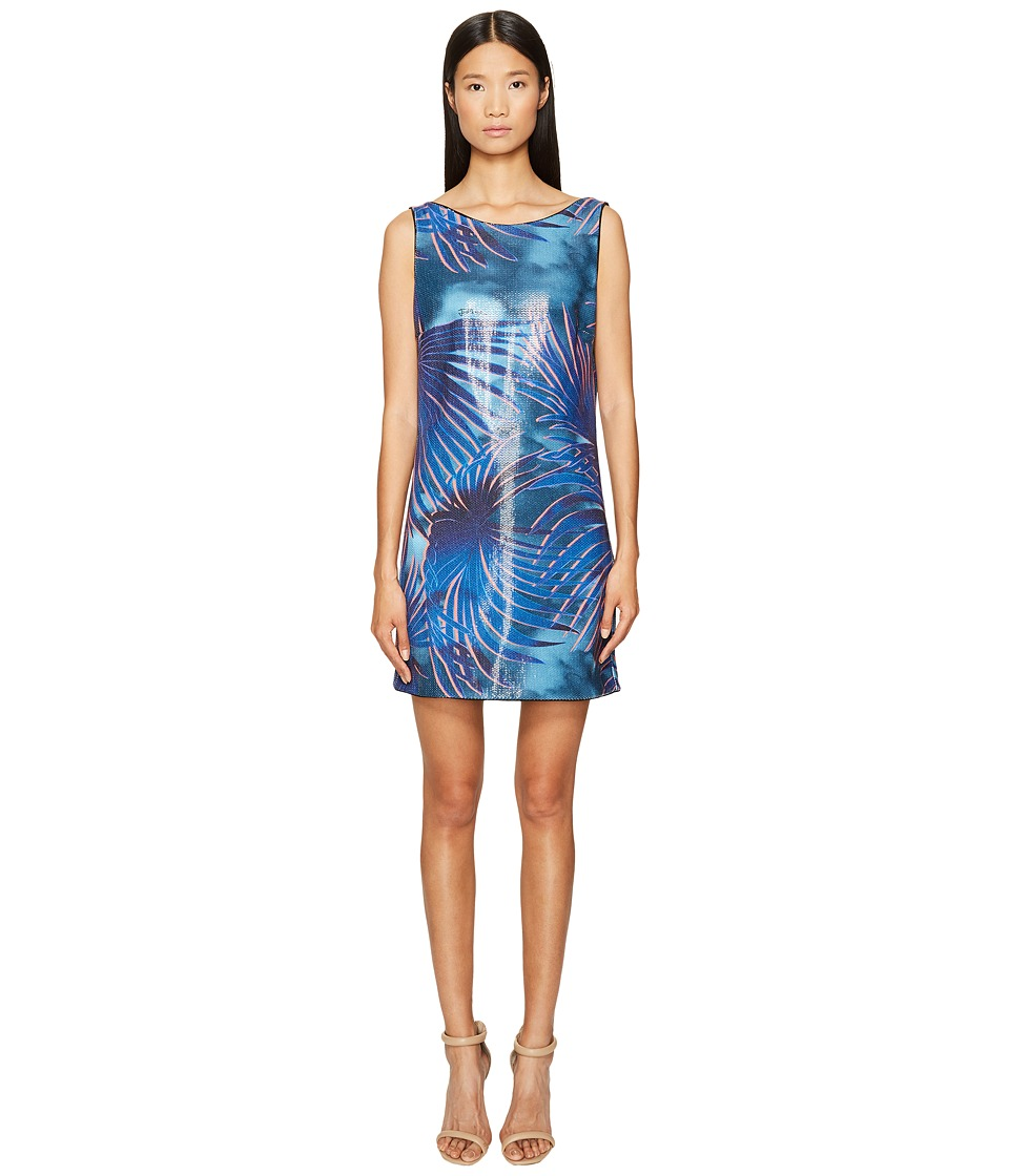 Just Cavalli Tie-Dye Palm Print Sleeveless Dress (Blue Variant) Women