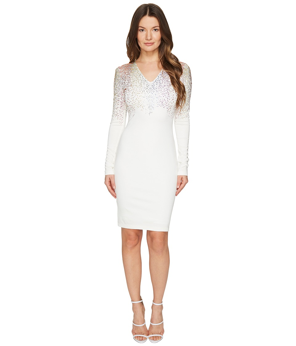 Just Cavalli Long Sleeve Fitted Short Dress (Optical White) Women