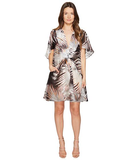 Just Cavalli Palm Print Sheer Short Dress