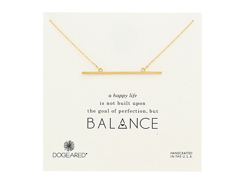 Dogeared Balance Large Straight Bar Necklace - Gold Dipped