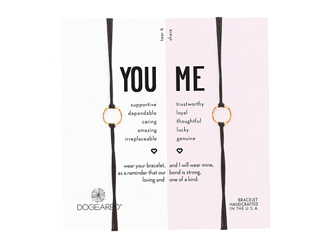 Dogeared Friendship Sparkle Ring Bracelet Set - Gold Dipped/Black