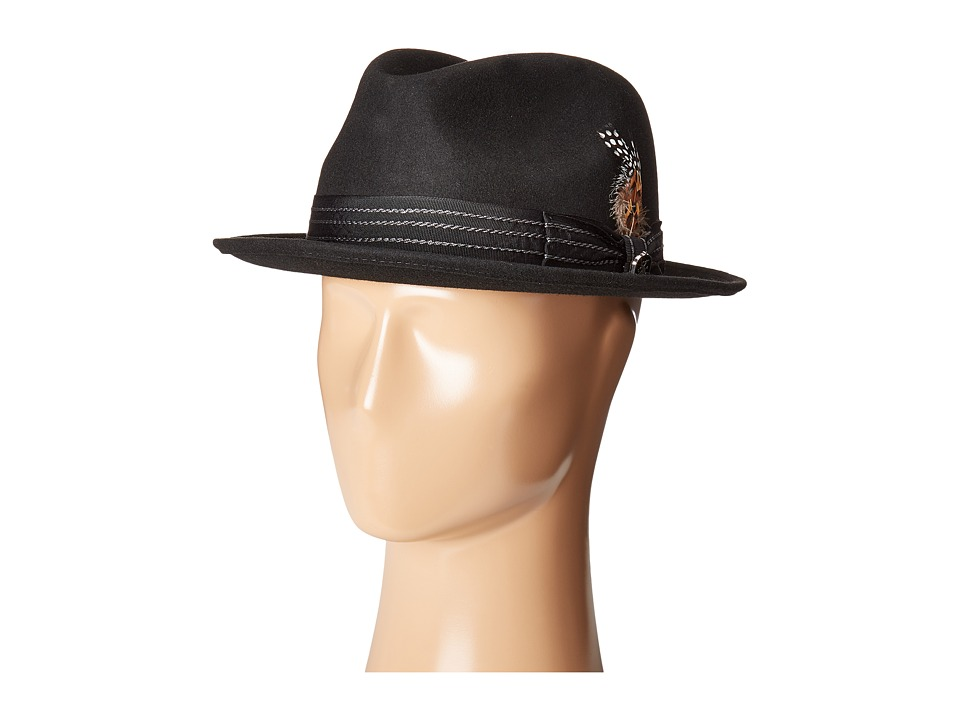 Stacy Adams - Pinched Fedora with Stitched Band (Black) Fedora Hats