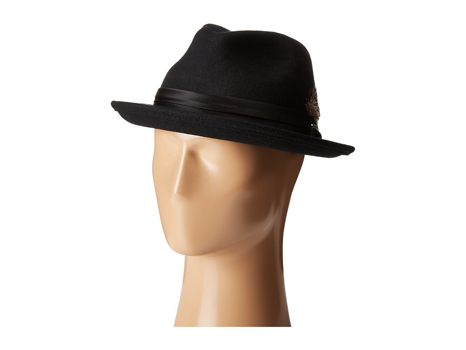 Stacy Adams - Crush Wool Felt Fedora (Black) Fedora Hats