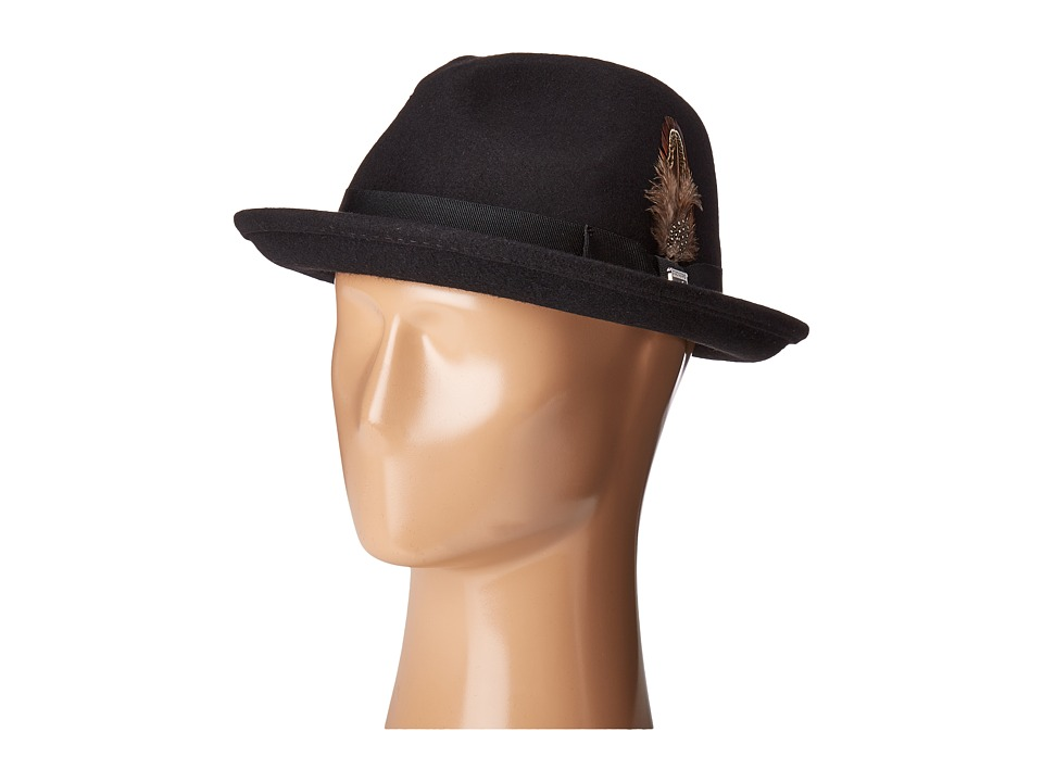 Stacy Adams - Fedora with Matching Trim (Black) Fedora Hats