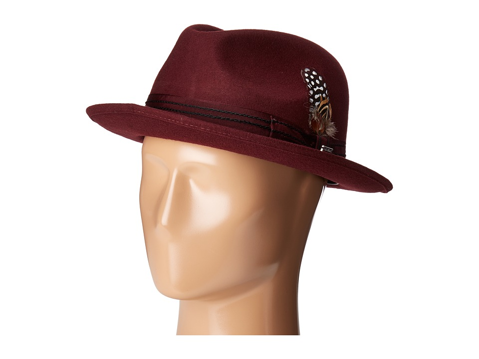 Stacy Adams Pinched Fedora with Stitched Band (Burgundy) Fedora Hats