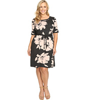 Christin Michaels - Plus Size Jainne Floral Sweater Dress with Belt