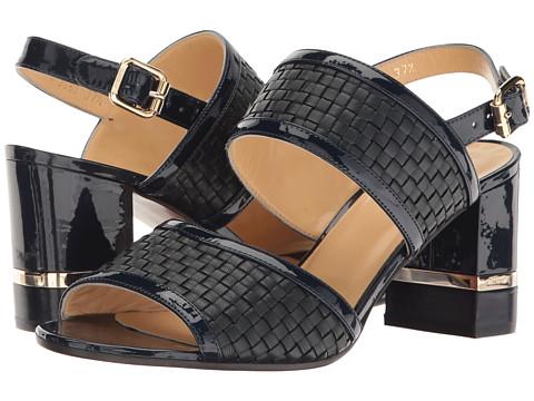a. testoni Nappa and Patent Leather Strap Heel
