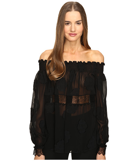 YIGAL AZROUËL Open Shoulder Smocked Fille Coupe Top