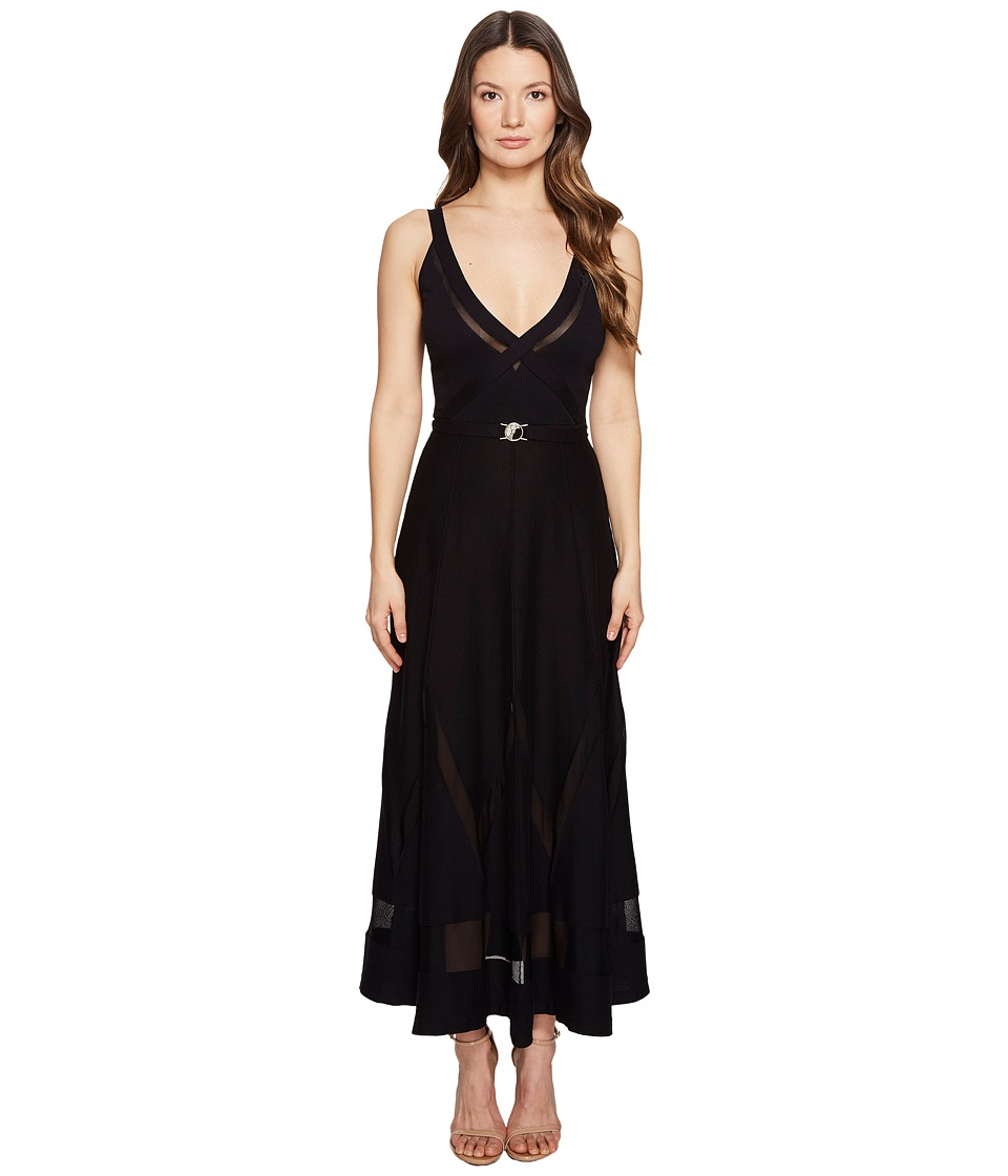 Versace Collection Sleeveless Plunge Tea Length Dress (Nero) Women