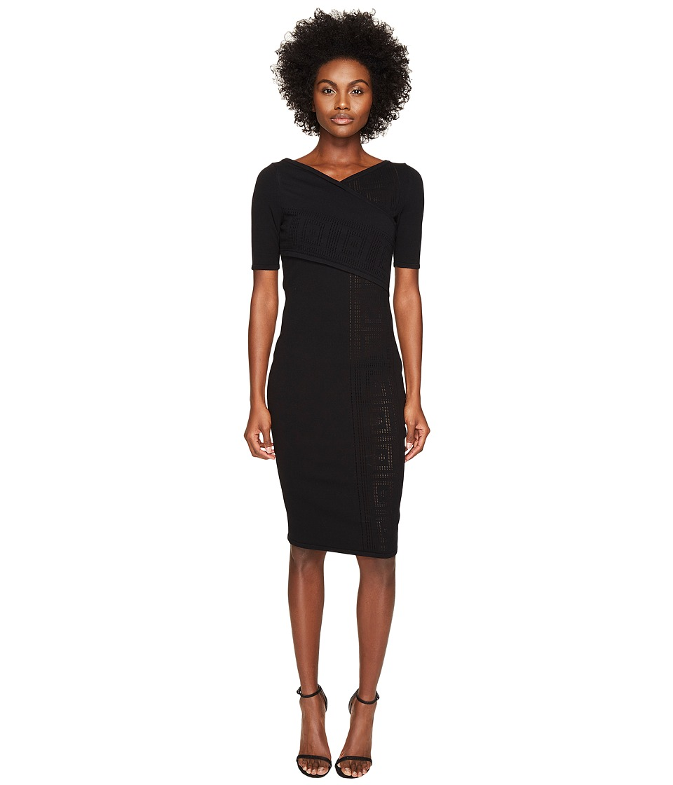 Versace Collection Short Sleeve Fitted Dress (Nero) Women
