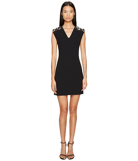 Versace Collection Woven Jeweled V-Neck Dress
