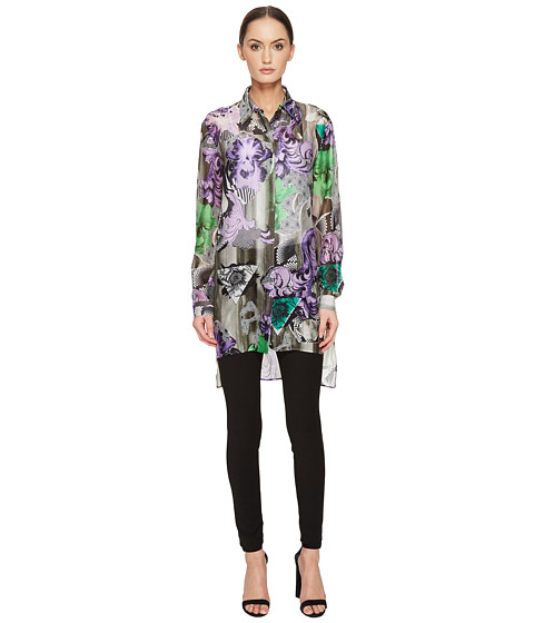 Versace Collection Sheer Collared Printed Long Sleeve Blouse