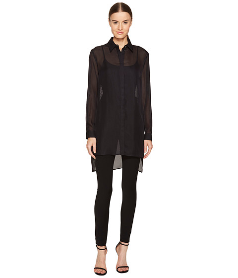 Versace Collection Sheer Collared Long Sleeve Blouse