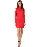 Kitty Joseph - Red Crepe Crystal Pleated Cold Shoulder Dress
