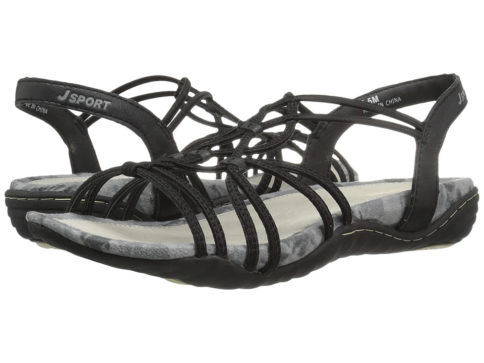 JBU - April (Black Elastic/Vegan) Womens Sandals
