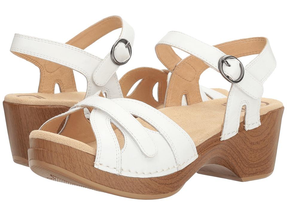 Vintage Sandals | Wedges, Espadrilles – 30s, 40s, 50s, 60s, 70s Dansko Season White Full Grain Womens  Shoes $119.95 AT vintagedancer.com