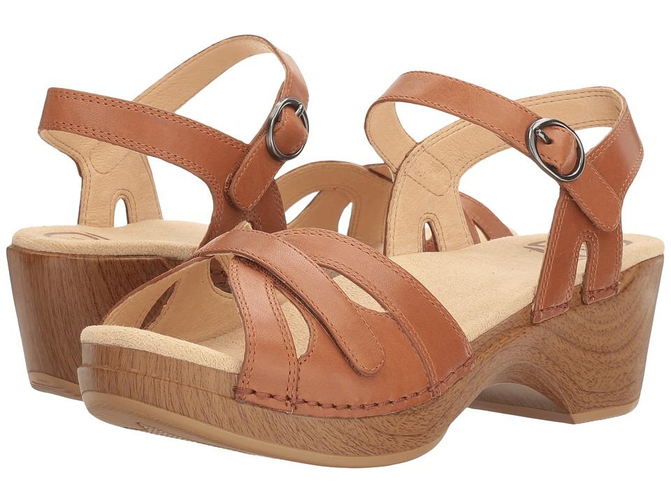 Vintage Sandal History: Retro 1920s to 1970s Sandals Dansko Season Camel Full Grain Womens  Shoes $119.95 AT vintagedancer.com