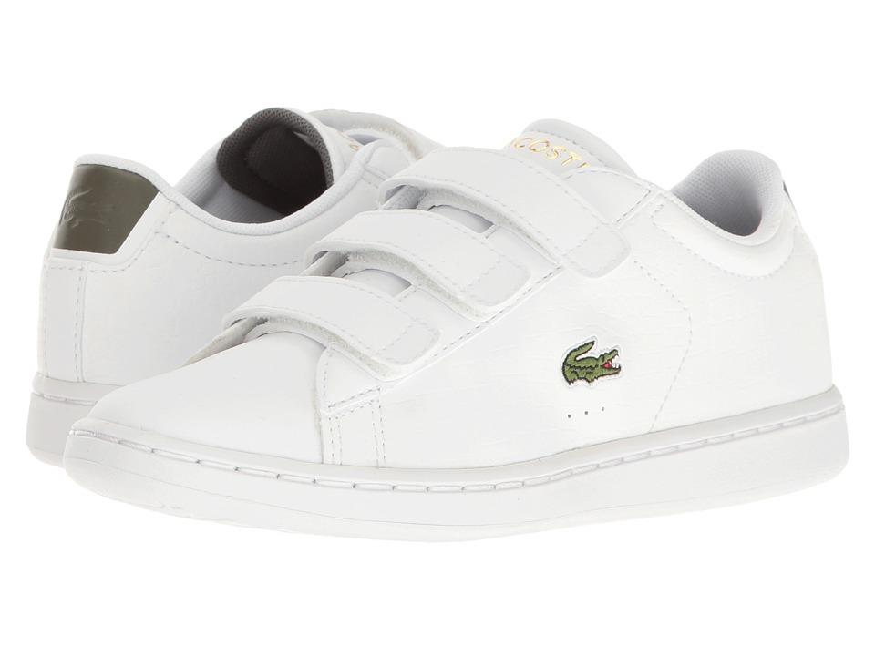 Lacoste Kids - Carnaby Evo G117 3 SPC (Little Kid) (White/Khaki) Kids Shoes