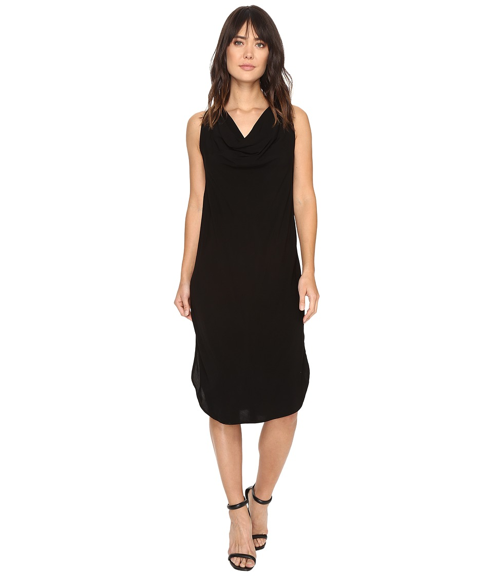 Michael Stars Modern Rayon Draped Dress w/ Back Tie (Black) Women