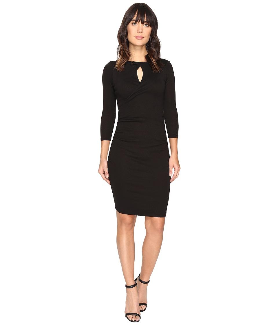 Michael Stars Shine Twisted Keyhole Dress (Black) Women