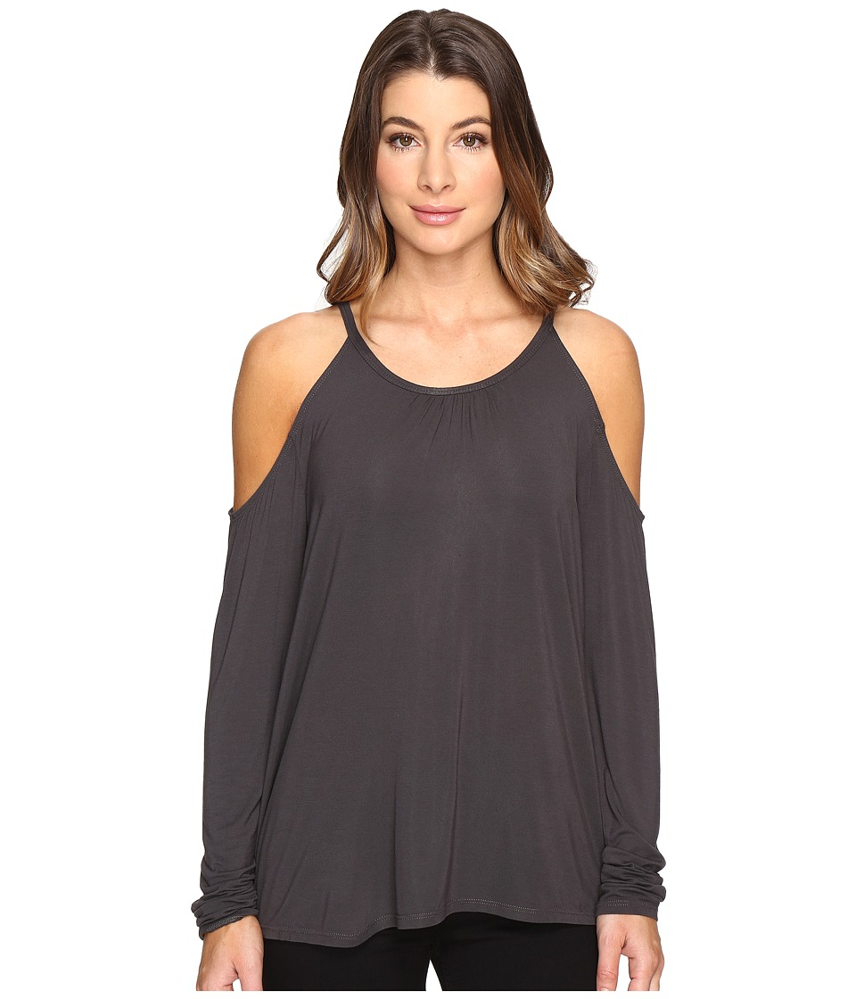 Michael Stars Jersey Lycra Long Sleeve Cold Shoulder Top (Oxide) Women