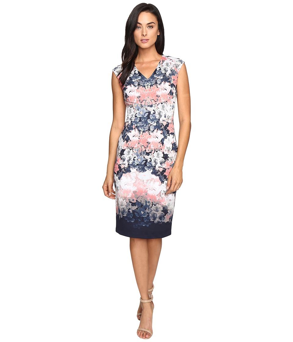 Maggy London Shadow Garden Scuba Sheath Dress (Indigo/Coral) Women