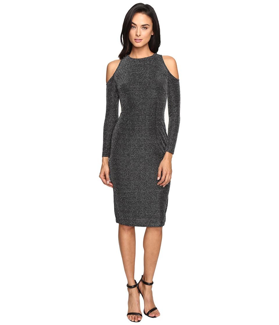 Maggy London Geo Lurex Novelty Cold Shoulder Sheather Dress (Silver/Black) Women