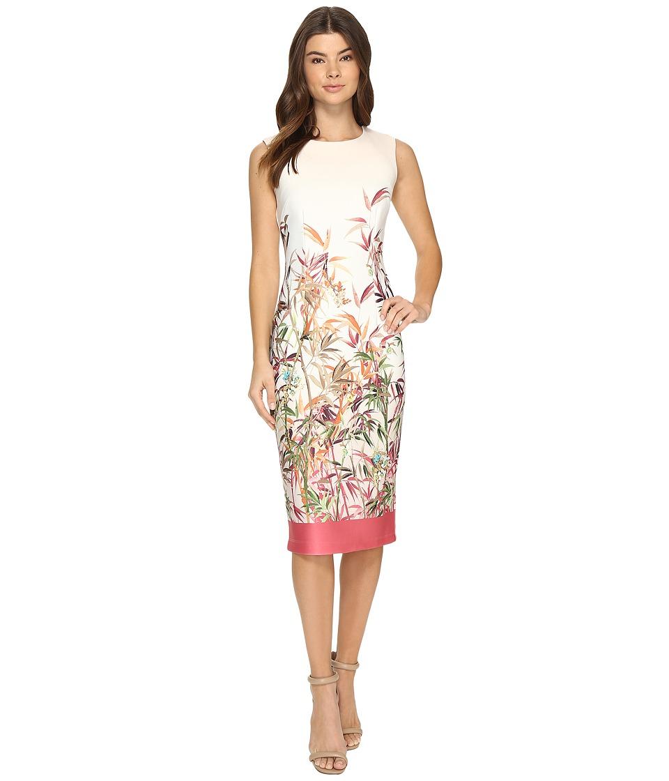 Christin Michaels Colette Floral Print Midi Dress (Ivory/Coral) Women