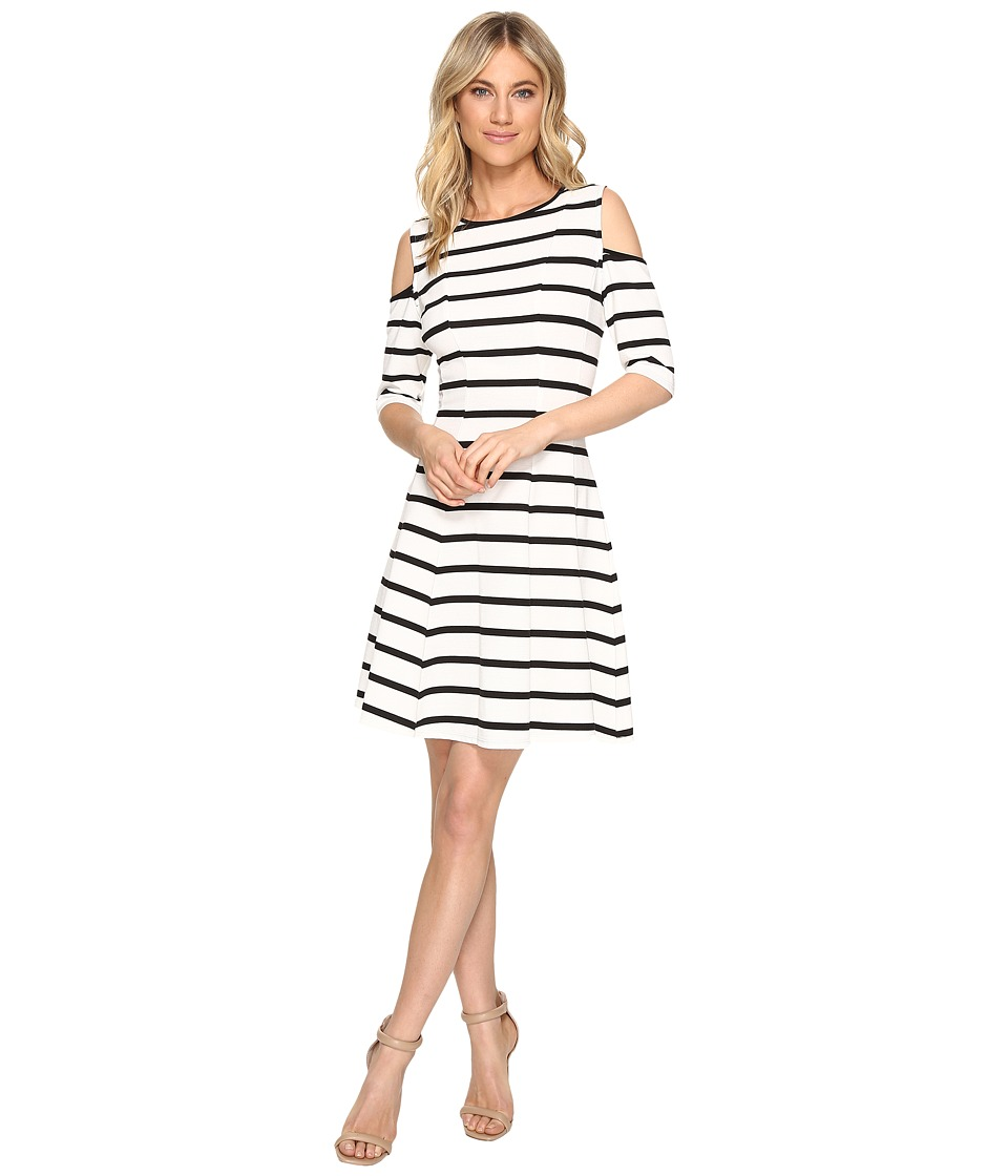 Christin Michaels Josee Cold Shoulder Fit and Flare (Ivory/Black) Women