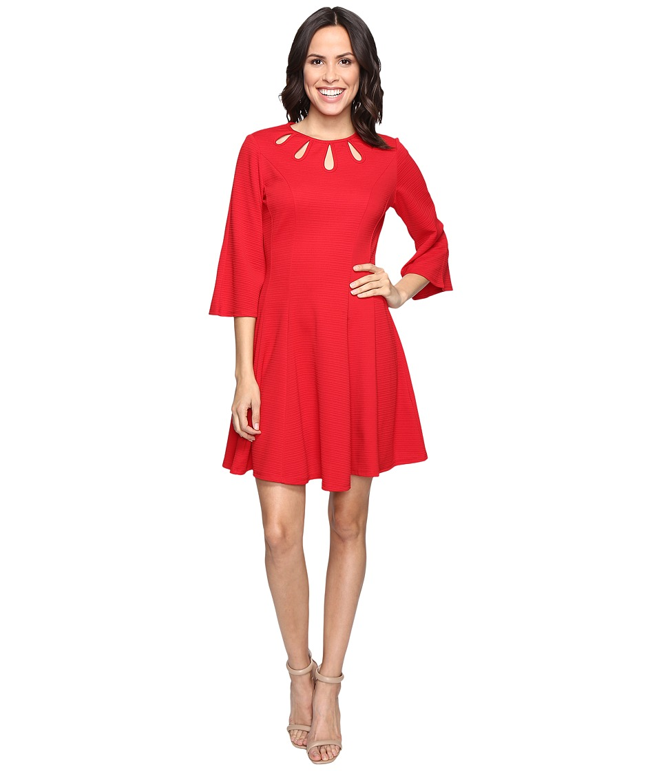 Christin Michaels Brielle Bell Sleeve Dress with Neckline Detail (Red) Women