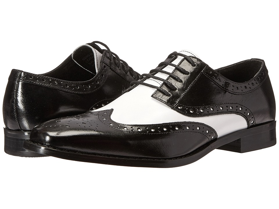 1940s Style Mens Shoes Stacy Adams - Tinsley BlackWhite Mens Lace up casual Shoes $110.00 AT vintagedancer.com
