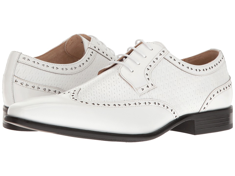 1940s Style Mens Shoes Stacy Adams - Melville White Mens Lace Up Wing Tip Shoes $90.00 AT vintagedancer.com
