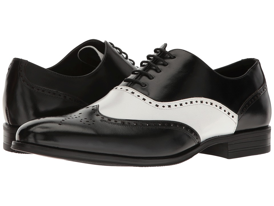 1940s Men's Fashion Clothing Styles Stacy Adams Stockwell Wingtip Oxford BlackWhite Mens Lace Up Wing Tip Shoes $90.00 AT vintagedancer.com
