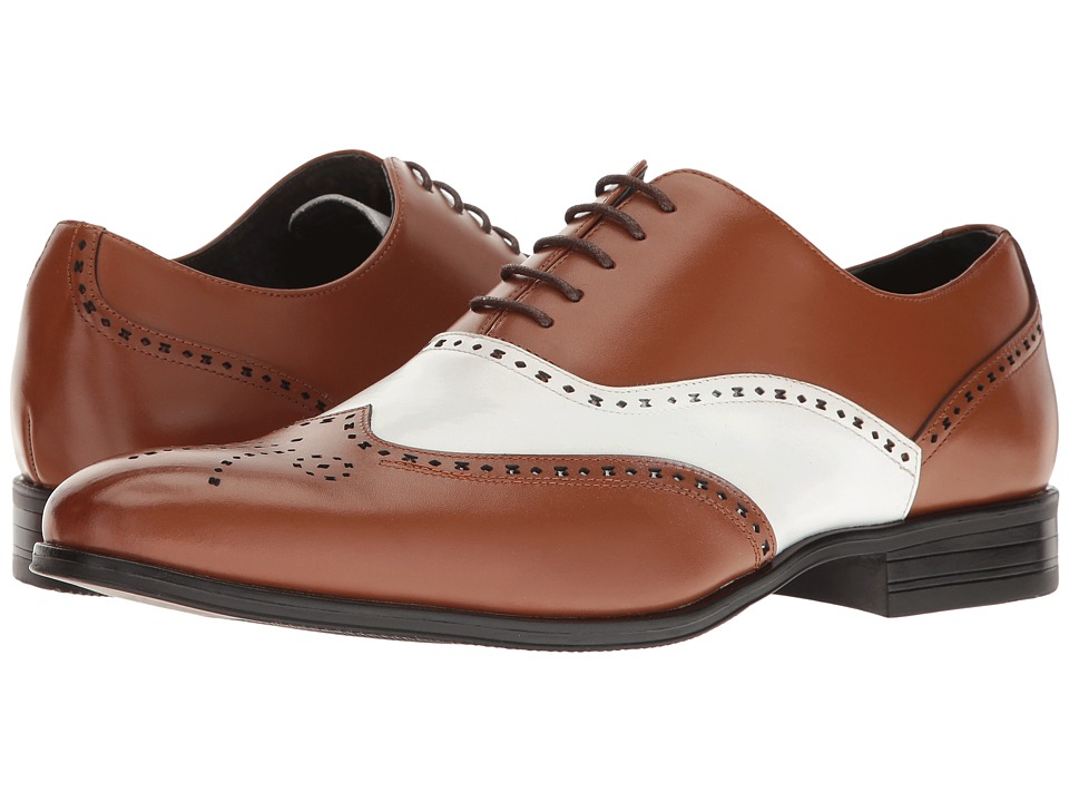 Stacy Adams Stockwell Wingtip Oxford (Cognac/White) Men