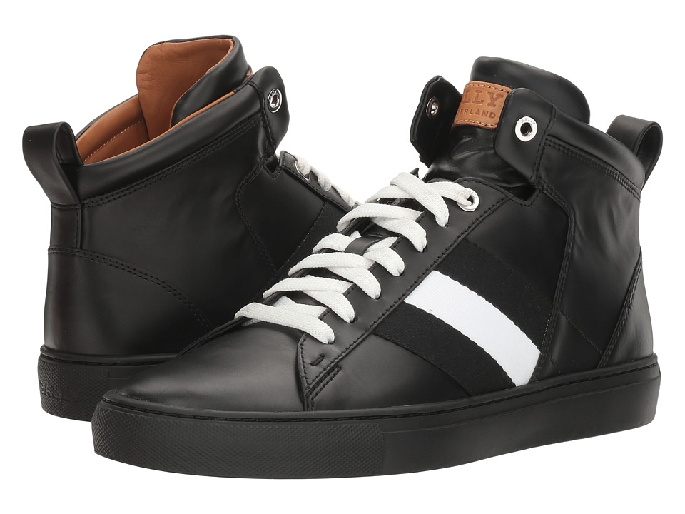 Bally - Hedern High Top Sneaker (Black/Black/White) Mens Shoes